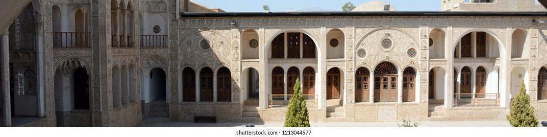 KASHAN, IRAN - AUGUST 30: Khan-e Tabatabei at night at 30 August, 2018 at Kashan, Iran. Tabatabei is a historical Persian mansion from Qajar era.