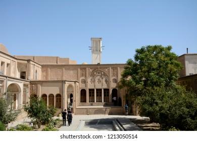 KASHAN, IRAN - AUGUST 30: Khan-e Boroujerdi at 30 August, 2018 at Kashan, Iran. Boroujerdi is a historical Persian mansion from Qajar era.