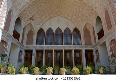 KASHAN, IRAN - AUGUST 30: Khan-e Ameriha at 30 August, 2018 at Kashan, Iran. Ameriha is a historical Persian mansion from Qajar era.