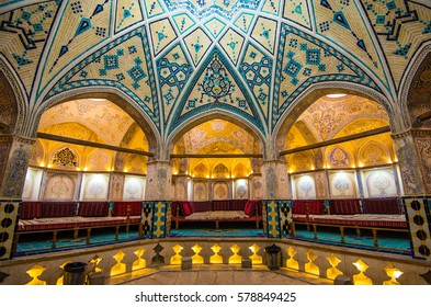 Kashan, Iran - Circa February 2016 - The interior shot of Sultan Amir Ahmad Bathhouse which was constructed in the 16th century