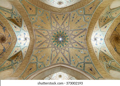 Kashan, Iran - December 8, 2015: Beautiful ceiling of Agha Bozorg Mosque in Kashan, Iran