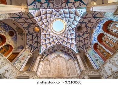 Kashan, Iran - December 9, 2015: Ornamental ceiling of Borujerdi Historical House in Kashan, Iran