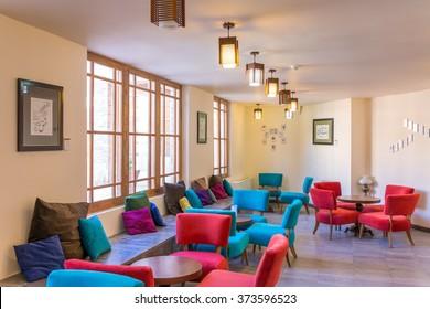 Kashan, Iran - December 9, 2015: Fancy cafe in Ameri Historical House in Kashan, Iran