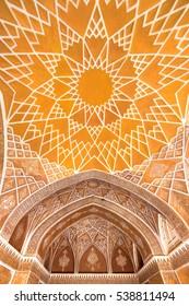 Kashan, Iran - December 9, 2015: Beautiful ceiling of the Ameri Historical House, Iran, Kashan