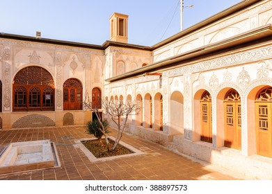KASHAN, IRAN - JAN 10, 2014: Courtyard of the Tabatabaei House,  a historic house in Kashan, Iran on Jan 10, 2014. It was built in early 1880s for the affluent Tabatabaei family.