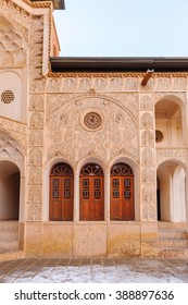 KASHAN, IRAN - JAN 10, 2014: Royal Tabatabaei House,  a historic house in Kashan, Iran on Jan 10, 2014. It was built in early 1880s for the affluent Tabatabaei family.
