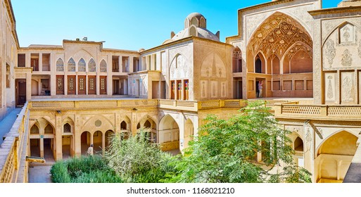 KASHAN, IRAN - OCTOBER 22, 2017: Abbasi House is one of traditional Persian mansions, preserved in city and serving as museum, on October 22 in Kashan.
