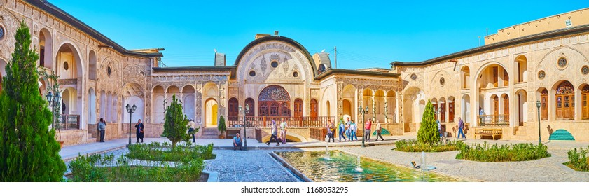KASHAN, IRAN - OCTOBER 22, 2017: Tabatabaei Historical House is traditional Persian mansion with fountains in courtyard, ornamental garden and richly decorated portals, on October 22 in Kashan.