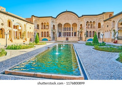 KASHAN, IRAN - OCTOBER 22, 2017: The outstanding architecture of Tabatabaei House attracts the tourists to visit this mansion and enjoy its beauty,  on October 22 in Kashan.