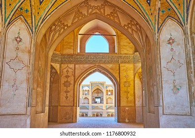 KASHAN, IRAN - OCTOBER 22, 2017: The outstanding architecture of Agha Bozorg mosque with beautiful interior and scenic courtyard, on October 22 in Kashan.
