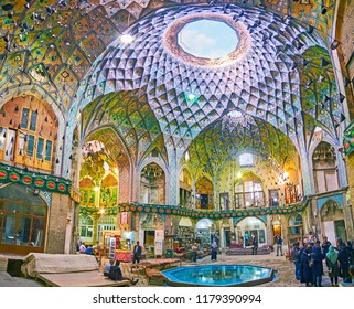 KASHAN, IRAN - OCTOBER 22, 2017: Medieval Aminoddole Caravanserai (Timche-ye Amin od-Dowleh) is best place to explore Persian architecture and unique interior design, on October 22 in Kashan.