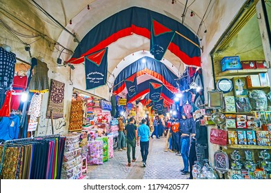 KASHAN, IRAN   OCTOBER 22, 2017: Busy Alleyway Of Old Grand Bazaar,