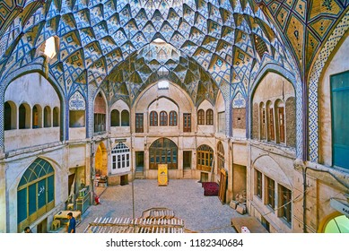 KASHAN, IRAN - OCTOBER 22, 2017: The Grand Bazaar boasts ornate caravanserais, such as Hajj Seyed Hossein Sabbaq Timcheh, on October 22 in Kashan.