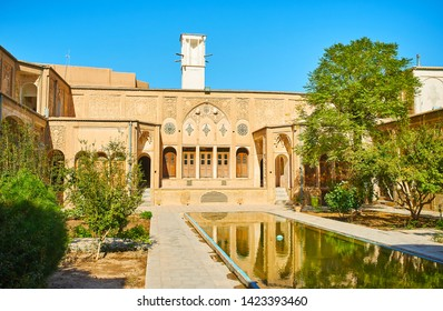 KASHAN, IRAN - OCTOBER 23, 2017: Borujerdi Historical House is one of the main architectural city landmarks and the fine example of traditional medieval architecture of Persia, on October 23 in Kashan