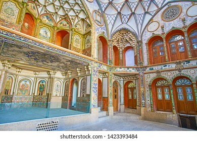 KASHAN, IRAN - OCTOBER 23, 2017: The  Andarouni (interior) of Borujerdi Historical House, famous for its rich decorations and traditional Persian architectural style, on October 23 in Kashan.