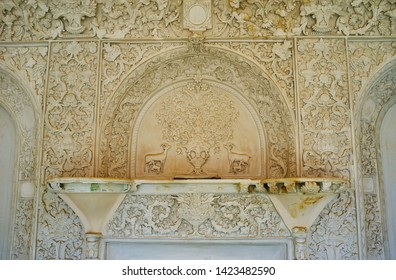 KASHAN, IRAN - OCTOBER 23, 2017: Elements of floral and animalistic relief stucco decoration of the wall in Borujerdi Historical House, on October 23 in Kashan.