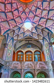 KASHAN, IRAN - OCTOBER 23, 2017: Interior details of Borujerdi Historical House, famous for its ornate muqarnas dome and richly decorated plaster walls, on October 23 in Kashan.