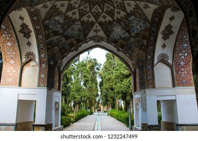 KASHAN, IRAN- SEPTEMBER 23,2018: Fingarden in Kashan. Fingarden is a historical Persian garden, one of the most famous royal gardens of the country and the place where Amir Kabir was murdered.