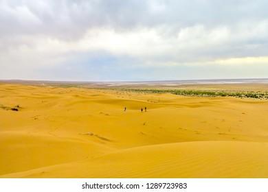 Kashan Maranjab Salt Desert with Appealing Common Sand Dunes and Tourists