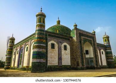 Kashgar Afaq Khoja Mausoleum Green Tiles Ornament Side View Point