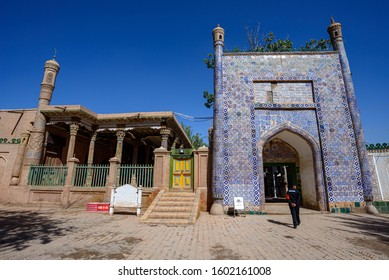 Kashgar, China - Circa September 2019 : Mosque beside the 17th century Tomb of Abakh Khoja or Xiangfei