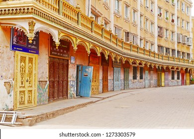 KASHGAR, CHINA - MAY 9, 2018: A colorful vibrant exterior design of renovated building in the real heart of Kashgar old town, the Xinjiang Uyghur Autonomous Region, China.