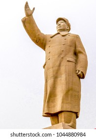 KASHGAR, CHINA - Oct 2011: View of the 24 metre tall statue of Chairman Mao in the city of Kashgar in the Xinjiang Uygur Autonomous Region of western China