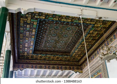 Kashgar, Xinjiang, China: carved wooden roof in the courtyard of Id Kah Mosque, the most famous attractions in Kashgar Ancient Town. Built in 1442, it is the largest mosque in China