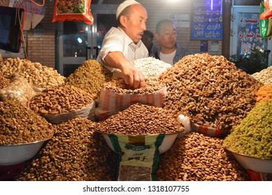 Kashgar, Xinjiang, China - October 19 2018: Kashgar, Xinjiang, China - October 19 2018: Local people in Kashgar at walking street
