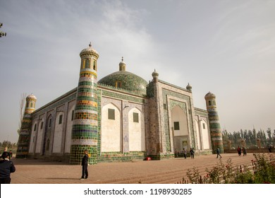 Kashgar, Xinjiang, China :  September 15, 2018 :  Tourists outside  the Mausoleum of Apak Khoja and Tomb of the Fragrant Concubine in Kashgar, or Kashi, Xinjiang, China.