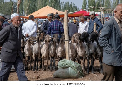 Kashgar, Xinjiang, China - September 16, 2018 :  Buyers and sellers haggling over sheep at the Sunday Livestock Bazaar and Market in Kashgar, or Kashi, China.