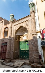 Kashgar, Xinjinag, China: arabic style decorated doorway in the streets of Kashgar Ancient Town. Kashgar is a popular tourist place along the Silk Road and one of the westernmost cities of China