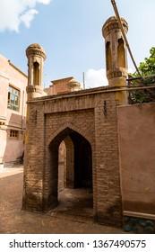 Kashgar, Xinjinag, China: arabic style decorated building in the streets of Kashgar Ancient Town. Kashgar is a popular tourist place along the Silk Road and one of the westernmost cities of China