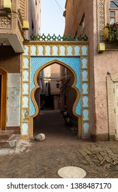 Kashgar, Xinjinag, China: arabic style decorated archway in the streets of Kashgar Ancient Town. Kashgar is a popular tourist place along the Silk Road and one of the westernmost cities of China