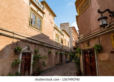 Kashgar, Xinjinag, China: one of the streets of Kashgar Ancient Town. Kashgar is a popular tourist place along the Silk Road and one of the westernmost cities of China
