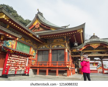 Kashima.Saga.Japan.JANUARY,31,2018.Visitors impress the beauty of Yūtoku Inari shrine, which is still quiet in the morning, before being filled with crowds accompanying the tour.