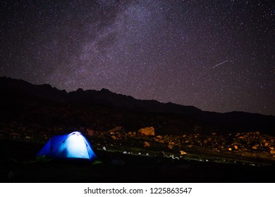 Kashmir Great Lake  Night time astrophotography, milky way with camping tents