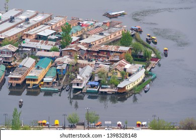 Kashmir, INDIA – April 15, 2019 :  aerial view cityscape of Houseboat in Dal Lake is famous place the main attractions at Srinagar, Jammu and Kashmir, India