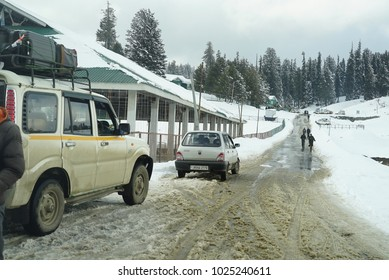 Kashmir, India circa 1 February 2018. Road covered in ice leading to one of the dangerous route to Gulmarg.