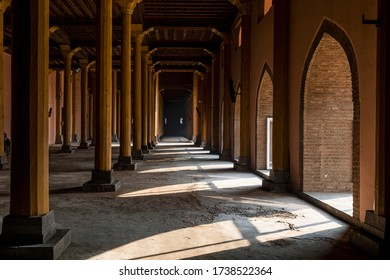 KASHMIR, JANUARY 01, 2018: View of wooden architecture and pattern of pillars inside the famous Jama Masjid in the town of Srinagar in Kashmir