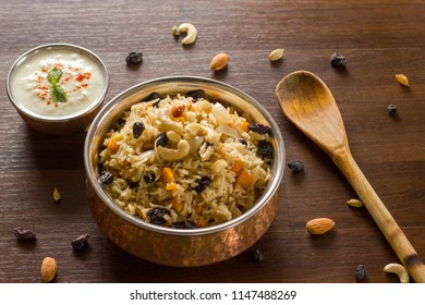 Kashmiri pulao is an aromatic, mild and sweet. Rice is cooked with milk and loaded of dry fruits and fresh fruits.