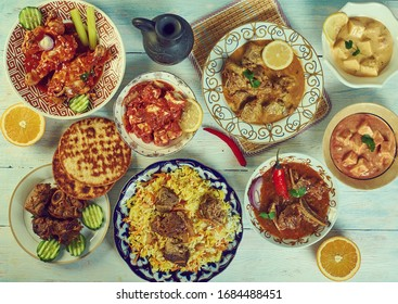 Kashmiri cuisine, Traditional assorted Indian  dishes, Top view.