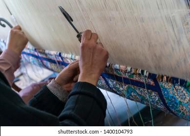 Kashmiri handmade persian carpets weaves making carpet is a native weaving craft of Kashmir skilled weavers highly quality