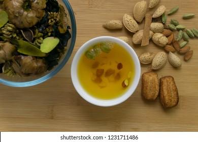Kashmiri Kehwa with ingredients