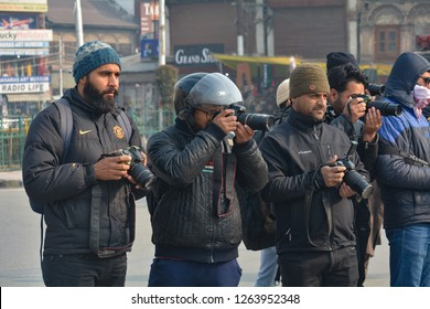 Kashmiri photojournalists covering clashes between government forces and youths in Nowhattah Srinagar after Friday prayers on 21st December 2018