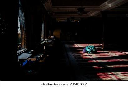 KASHMIR-MARCH 19 :woman praying in a mosque on March 19, 2016 in Kashmir,India