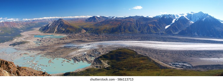 Kaskawulsch glacier from Observation mountain - panorama, Yukon, Canada