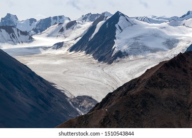 The Kaskawulsh Glacier flows from the mountains in Kluane National Park, Yukon, Canada