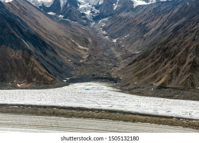 Kaskawulsh Glacier moraine at the canyon floor in Kluane National Park, Yukon, Canada