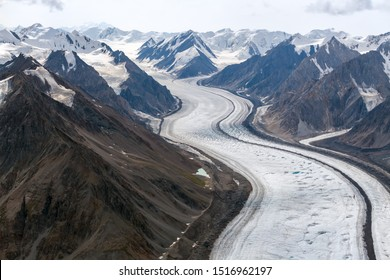Kaskawulsh Glacier twists through mountains in Kluane National Park, Yukon, Canada